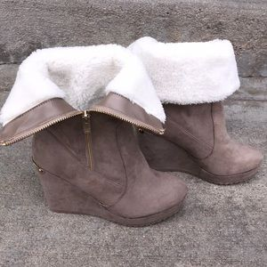 Juicy Couture Fur Wedge Boots